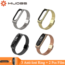 Mijobs Mi Band 4 Wrist Strap Metal Milanese Stainless Steel For Xiaomi Bracelet Miband 3 Wristbands