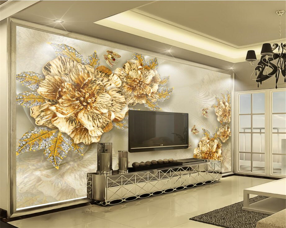 Beibehang Custom Photo Wall Mural 3d Wallpaper Luxury: Beibehang Custom Wallpaper European Luxury Gold Diamond