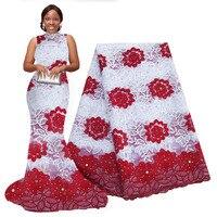 Tissu africain en dentelle perlée 5 yards brodé maille dentelle tissu africain dentelle Guipure de haute qualité pour la fête et le mariage