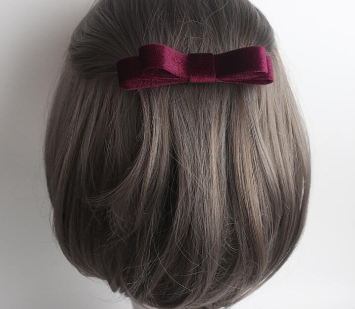Free Shipping women cute velvet bow barrette hairpins girl's lovely hair clips Hair accessories   headwear