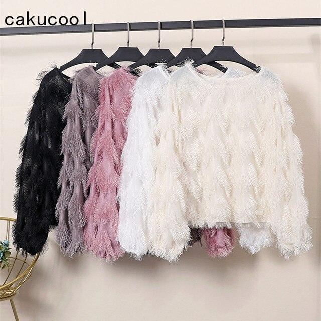 feab8935e5a Cakucool Spring Round Neck Top Women Furry Lurex Tassels Knit Shirt Korean  Loose Cute Hairy Long Sleeve Basic Women Clothing