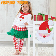 2PCS Christmas Clothing Suit Toddler Cloth Cotton Outfits Baby Girl Long Sleeve Snow Man Shirt+Red Dot Pants Suit For Kid LL350