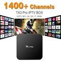 Mejor Cielo UK DE Francés Italiano TX3 PRO IPTV Caja 1400 Más libre Europea Sky Sport Canal IPTV IPTV TV Box Kodi Arabox Cargado