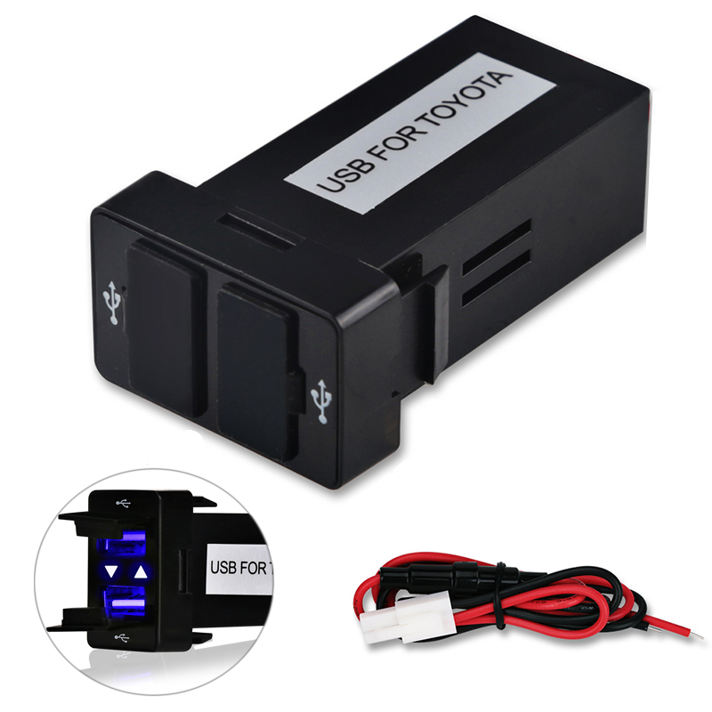 12v 24v Dual Usb Car Charger For TOYOTA After 2013 Usb 2.1A 2 Port Auto Power Adapter Socket For Iphone Sumsang Car Styling