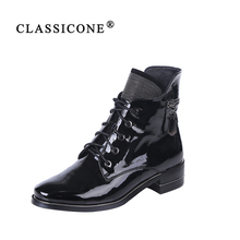 CLASSICONE 2019 New Woman shoes women's ankle boots spring autumn genuine leather flats brand fashion luxury sexy style black chinese rhinestone foldable spring autumn crystal large size china genuine leather flats peach roll up famous brand shoes 10