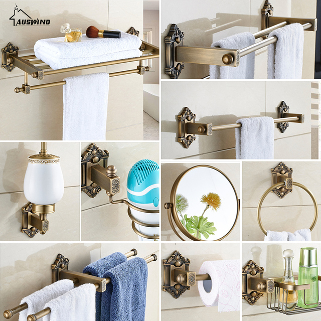 Vintage Bronze Bathroom Accessories European Brushed Solid Brass Bathroom  Hardware Set Wall Mount Carved Bathroom Products