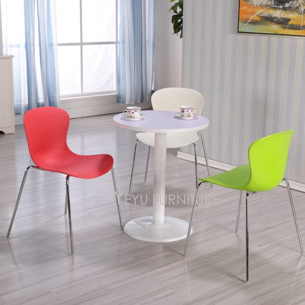Modern Design Plastic and Metal Chromed Steel stackable side chair, fashion stack dining chair, cafe chair, meeting chair-1PC