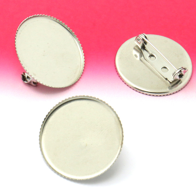 100pcs 25mm Wholesale Tooth plate  Cameo Cabochon Setting Disc Cuff links Bezel Blank with Adjustable Tray Foot