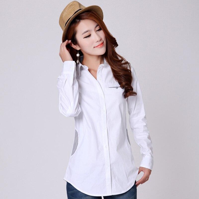 Kariéra Lady Móda Bílé Bavlněné Košile Velikost S-2XL Pruhované Patchwork Design Oblečení Ženy Bavlněné dlouhé halenky