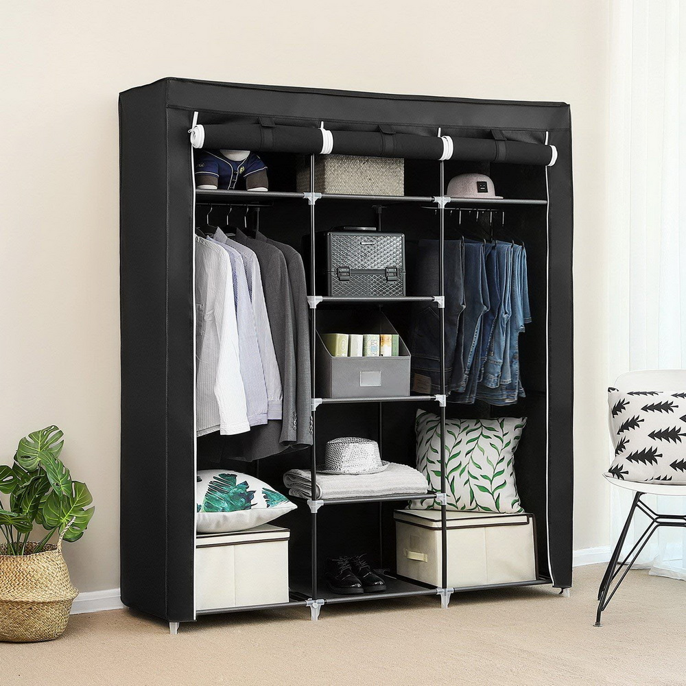 "69"" Portable Wardrobe Clothes Closet Home Clothes Storage Organizer With Shelves US(China)"