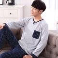 2016 осень роскошный хлопок мужские пижамы установить с длинным рукавом брюки пижамы мужские пижамы хлопка набор плюс