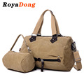 RoyaDong 2017 Vintage Women Travel Bags High Quality Canvas Travel Duffle Messenger Bags Composite Bag Set