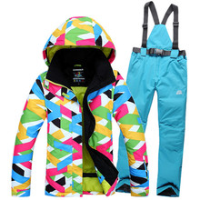 Cheap Woman Snow Suits winter outdoor ski suit set underwear warm single skiing Cost windproof thermal sonwboard jackets + pants