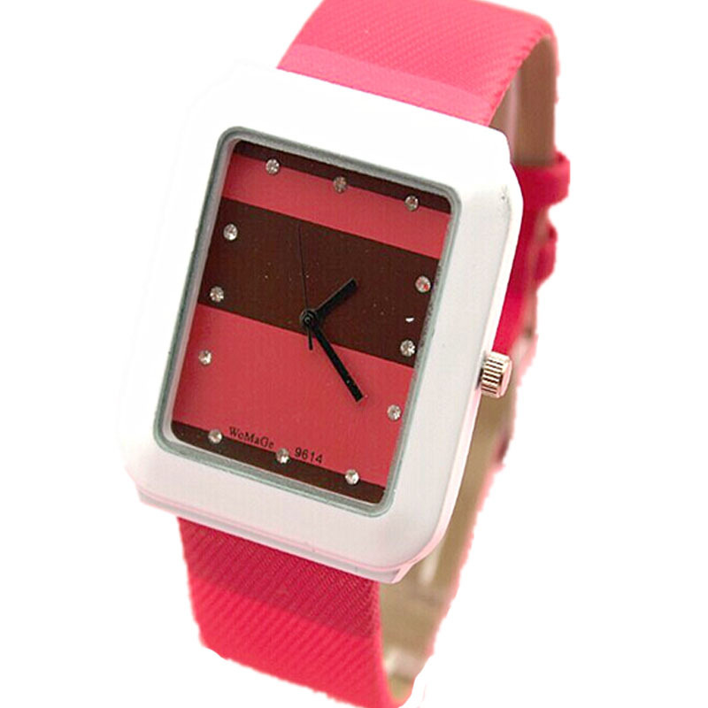 new girls fashion candy stitching colored Splice band womage brand quartz watch square shape women casual leather wristwatches