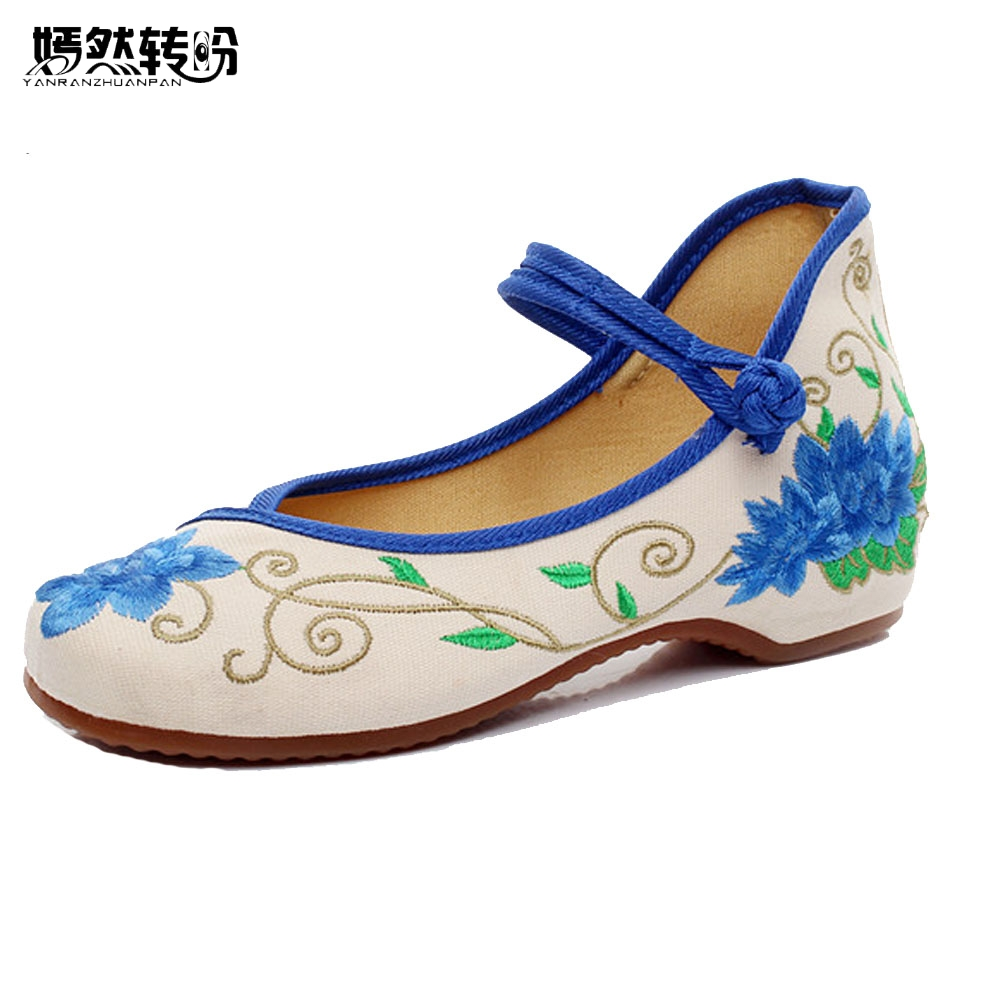 Chinese Women Flats Shoes Cotton Casual Blue and White Floral Embroidery Single Dance Ballerina Flats Shoes For Woman blue and white canvas anti static shoes esd clean shoes pharmaceutical shoes work shoes add cotton