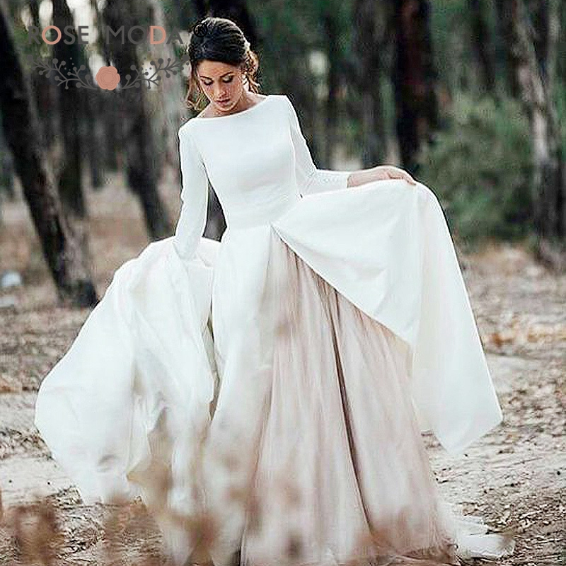 Rose Moda Classic Long Sleeves Wedding Dress 2019 With Removable Skirt Backless Princess Bridal Dresses With Train