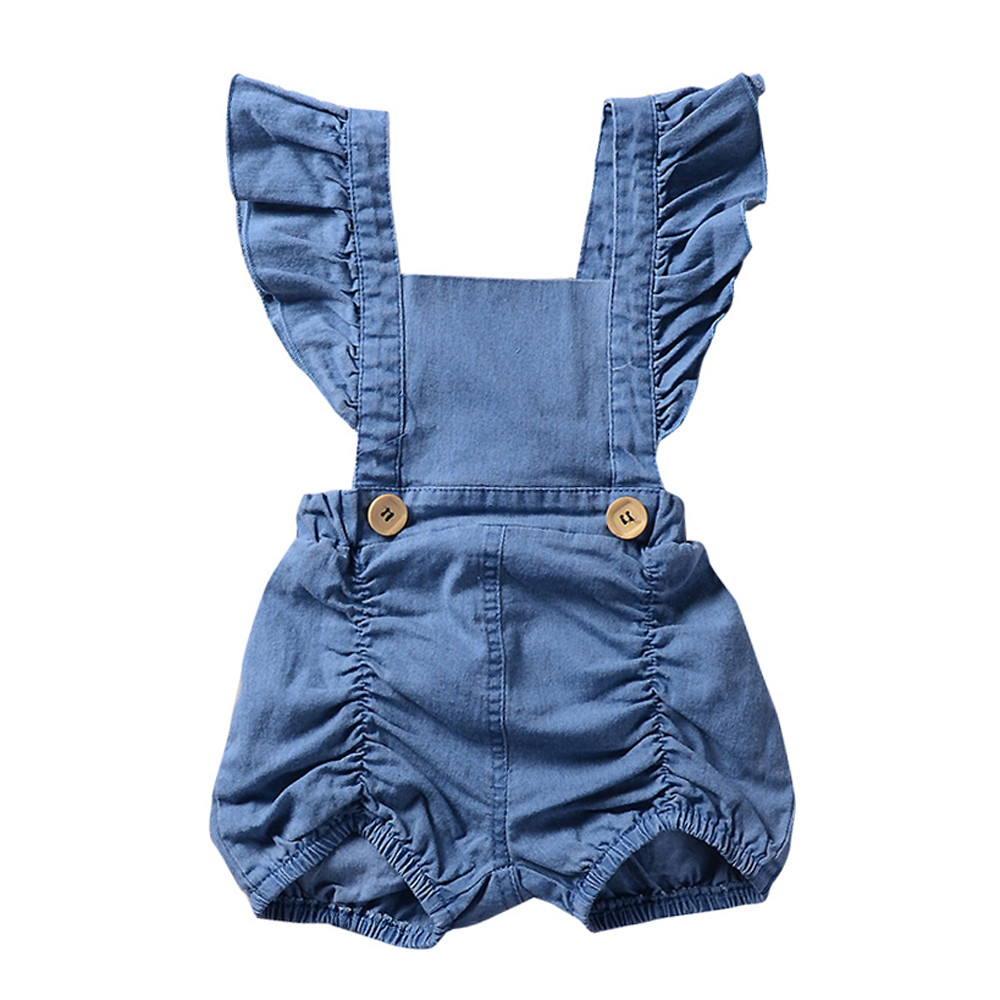 Newborn Infant Baby Girl Denim Ruffles Romper Jumpsuit Sunsuit Outfits Clothes Sleeveless Solid Baby Girls Rompers 2017 floral baby romper newborn baby girl clothes ruffles sleeve bodysuit headband 2pcs outfit bebek giyim sunsuit 0 24m