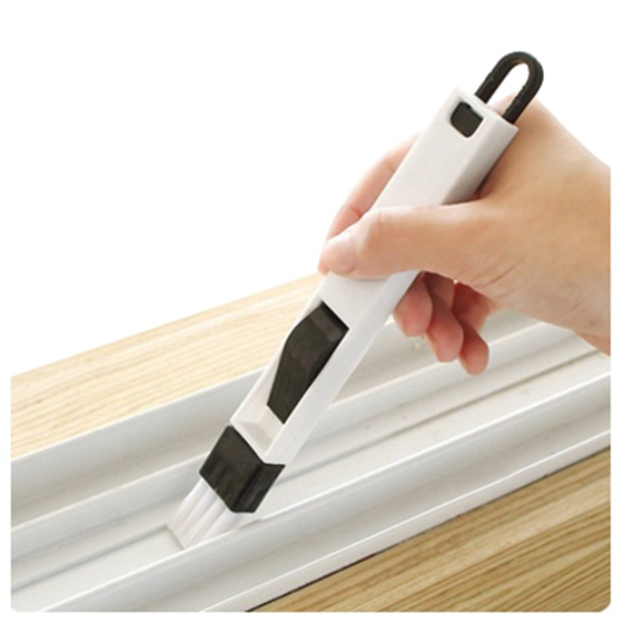 HOT GCZW-The Window Window Groove Groove Cleaning Brush With Cleaning Dustpan Screen Window Cleaning Tools (white+black)