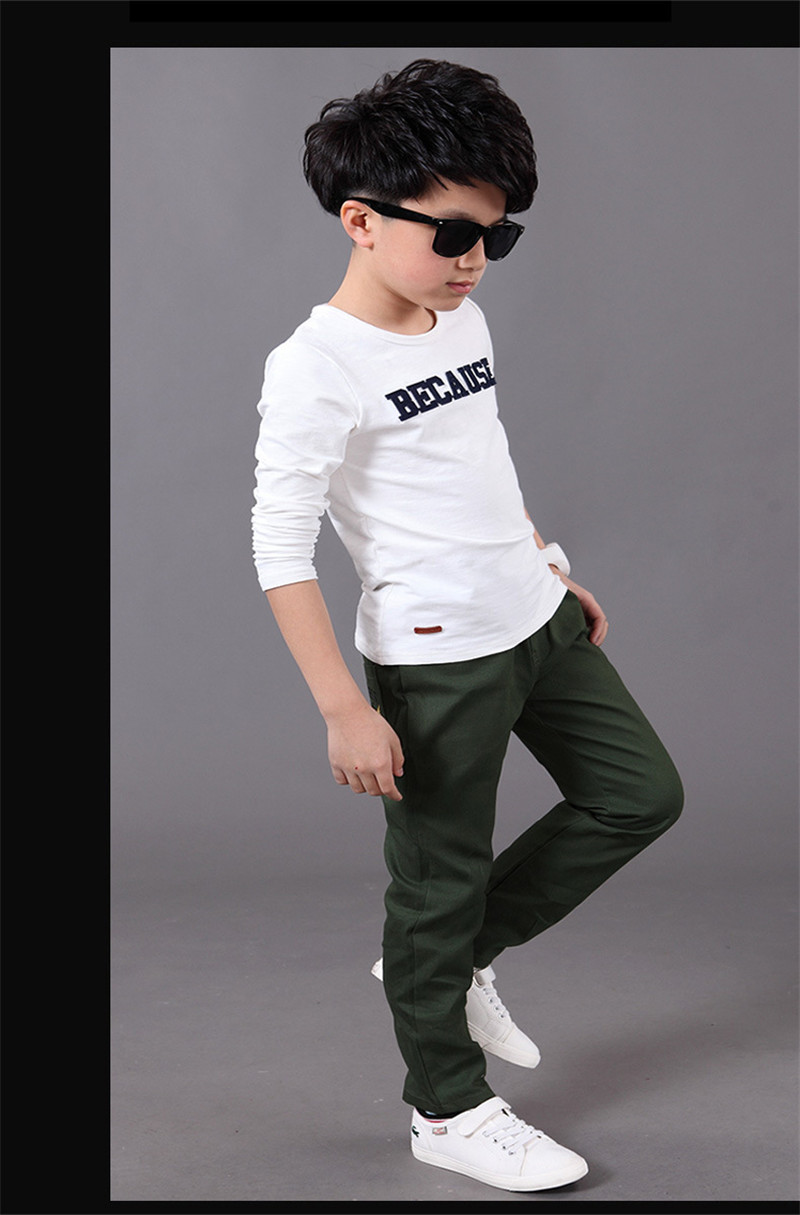 2019 New Fashion Letter Kids Boys Pants Trousers Casual Cotton Elastic Waist Pencil Pants For Boys Children Clothing 4-16T Ds175