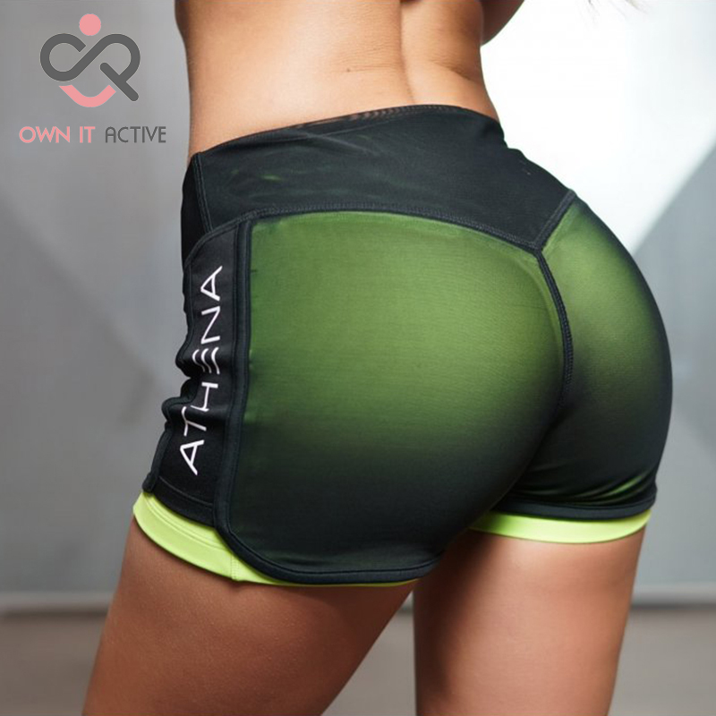 Fitness Yoga Shorts for Women Compression Mesh Overlay Gym Slim Fit Running Sports Kort Hurtig Tørr Cardio Training P145