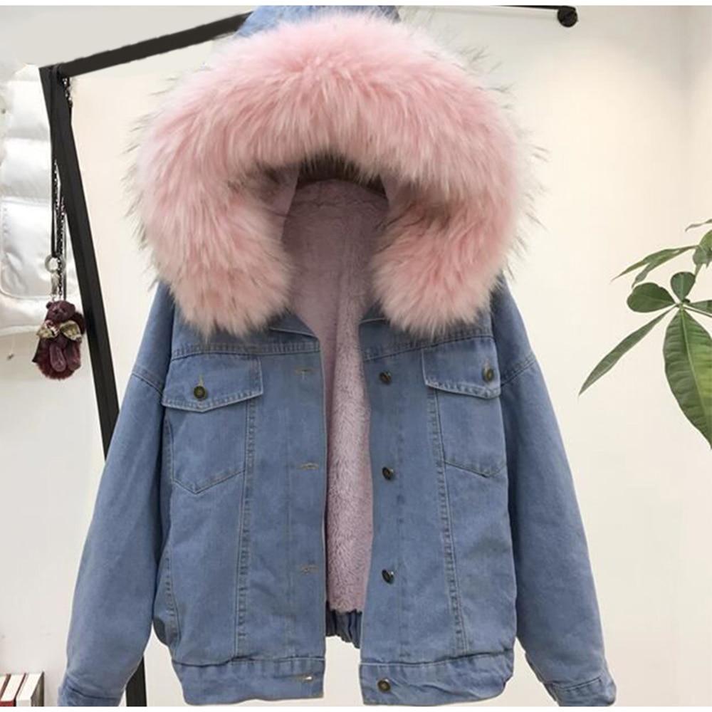 women faux fur jean jacket Winter Thick Jean Jacket Faux Fur Collar Fleece Hooded Denim Coat Female Padded Warm Denim Outwea