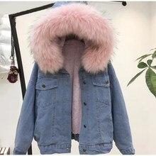 Delle donne della pelliccia del faux giacca di jeans Inverno Spesso Jean Giacca  di Pelliccia Del Faux Collare In Pile Con Cappuc. e8f081b5053