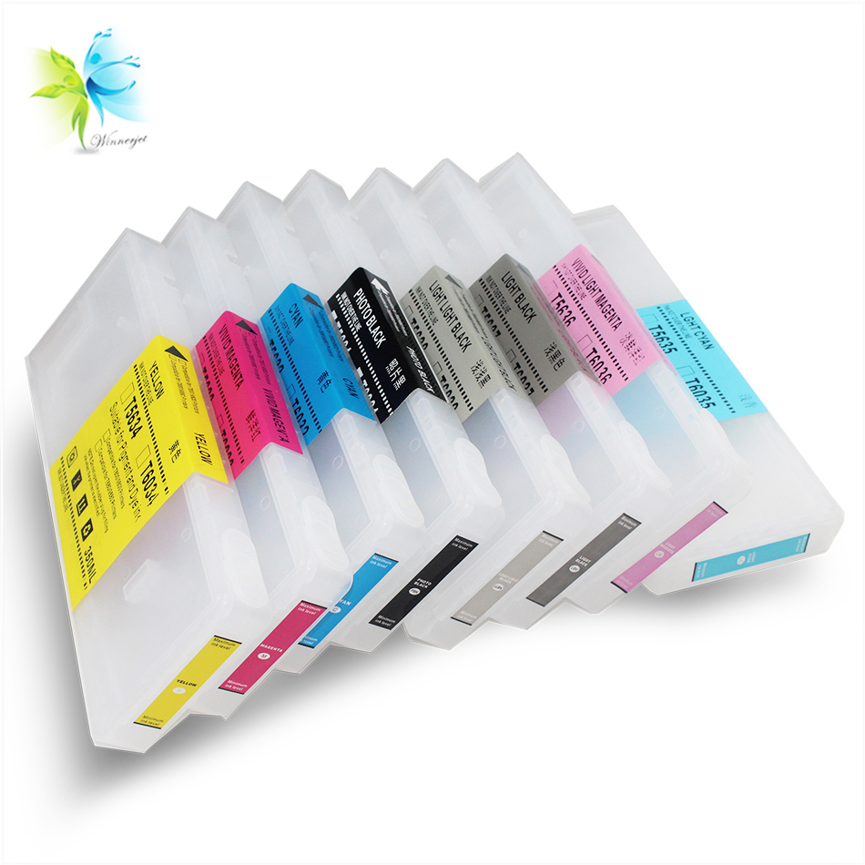 WINNERJET 350ml/pc*8 Colors Empty Refillable Ink <font><b>Cartridge</b></font> With Resettable Chip Compatible For <font><b>Epson</b></font> <font><b>7800</b></font> 9800 Printer image