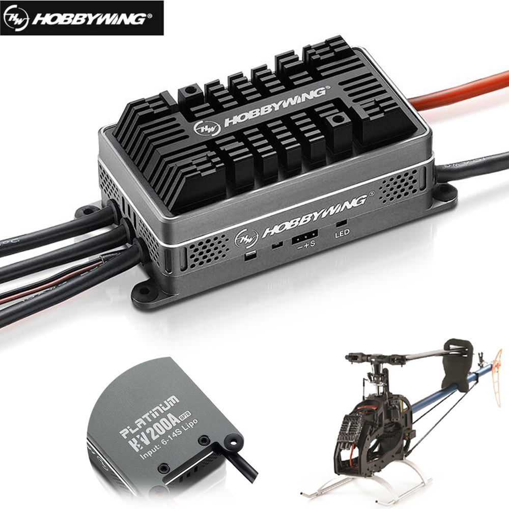 Original Hobbywing Platinum HV 200A V4 6-14 S Lipo OPTO Brushless ESC pour Drone RC Quadrocopter hélicoptère avion + boîte de vente au détail