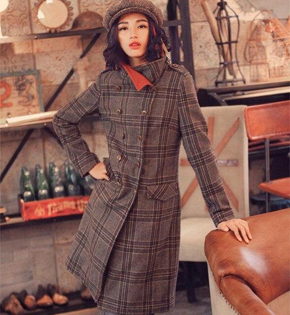 Апории. Как Винтаж & Ретро Британский Стиль Женщины Осень Зима Двубортный Плед Вышивка Тонкий Серый Длинные Шерстяные Пальто