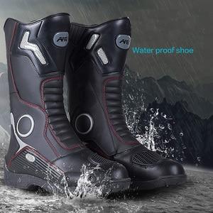 Image 3 - Botas de couro para motociclista, botas de couro à prova d água para moto, motociclista, botas de motocross