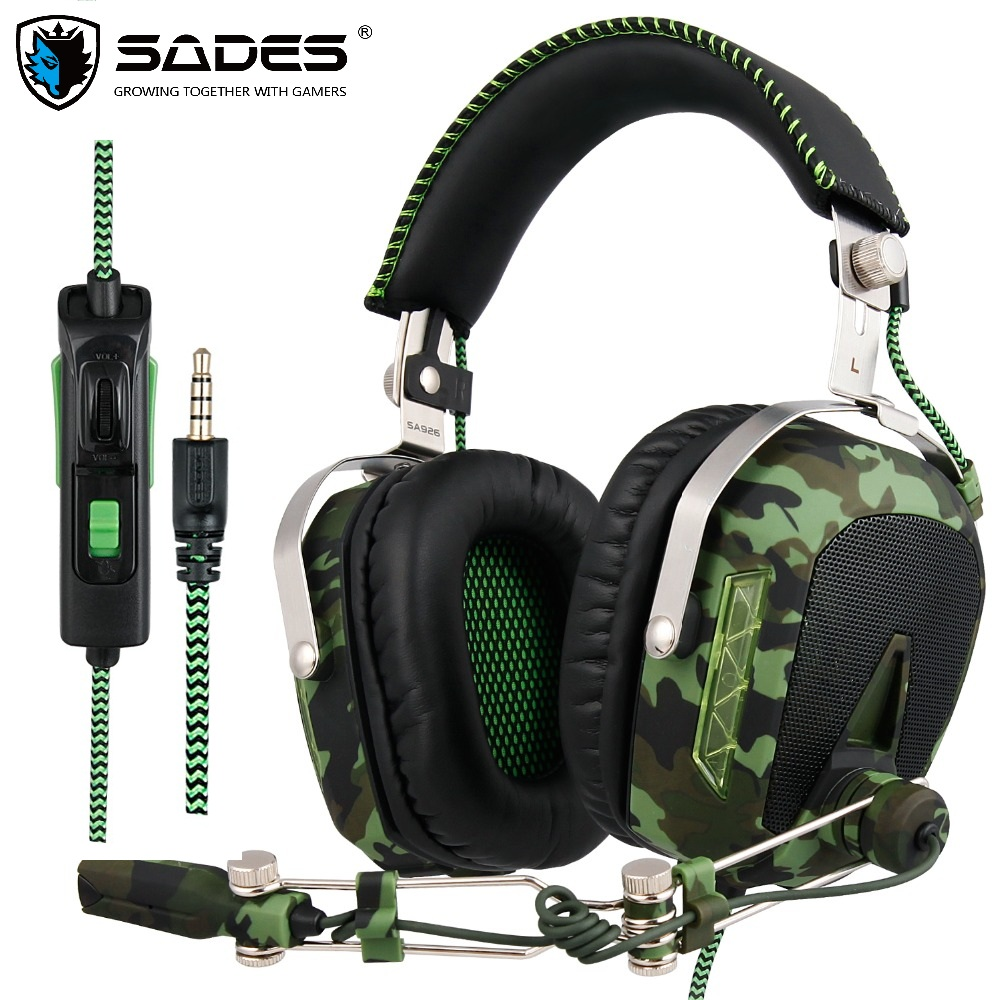 SADES SA926T 3.5mm Headphone Headset Permainan Untuk Xbox One Mobile Phone Mac Laptop PC Camouflage