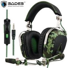 SA926T SADES Gaming Headset Fones De Ouvido de 3.5mm Para Xbox One Mobile Phone Laptop Mac PC Camuflagem