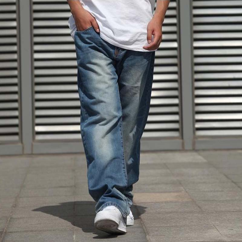 Wide Leg Straight Mens Jeans Harem Hip Hop Denim Joggers Pants Loose Baggy Skateboard Trousers