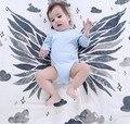 Asas do anjo Do Bebê Recém-nascido Cobertor Swaddle Me Gaze de Algodão Orgânico Rastejando Jogo Cobertor Envoltório Towl Enfermeira Carrinho de Bebê Cama
