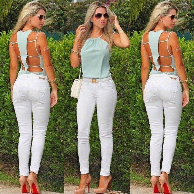 96e589836d7d € 5.46 |ropa mujer verano 2015 Spring european style Backless Top camisetas  sexy women Hollow Out Camisole Femme envío gratuito en Camis de La ropa ...