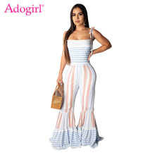 Adogirl Colorful Stripe Print Spaghetti Straps Jumpsuit Flare Pants 2019 Summer Strapless Boot Cut Romper Casual Women Clothing