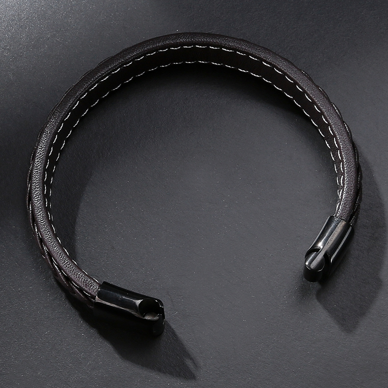 MOZO FASHION Pria Hitam Kulit Gelang Stainless Steel Magnetic Buckle - Perhiasan fashion - Foto 5