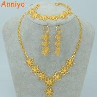 Gold Flower Jewelry Sets Necklace Earrings Bracelet 18k Gold Plated Blossom Set Africa Ethiopian Wedding Arab