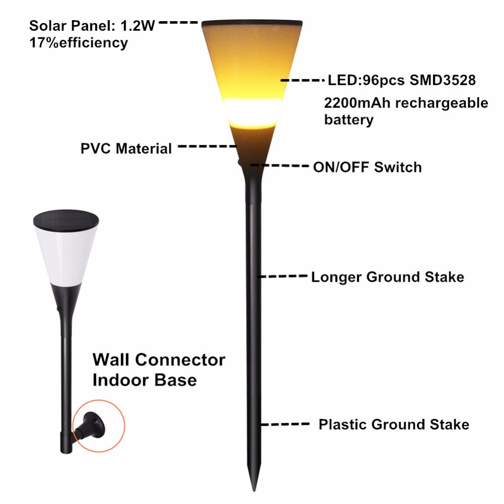 Solar Flame Light Torches Dancing Lighting 96leds Flickering How To Build Leds Torch Outdoor For Garden Decoration In Lamps From Lights