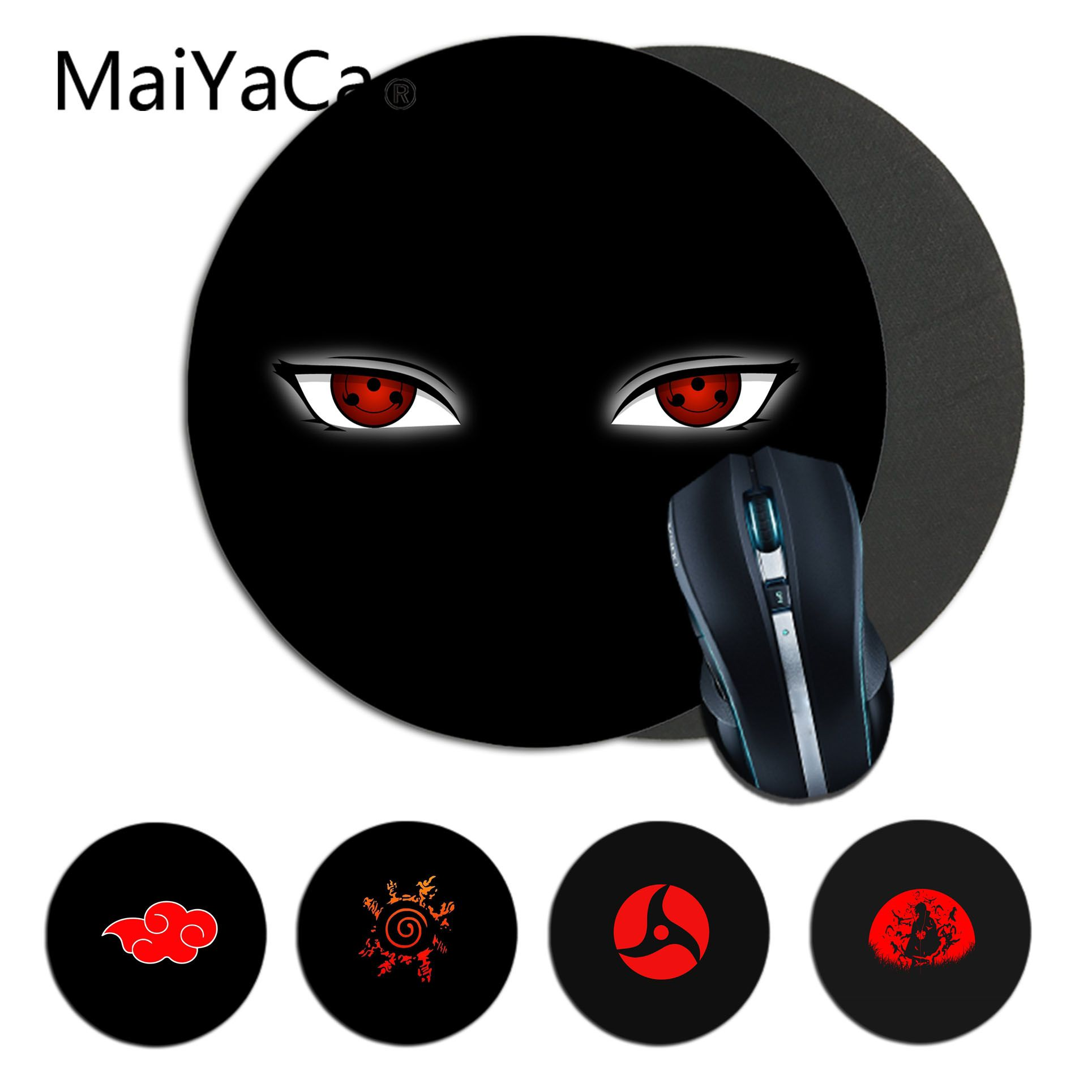 Maiyaca Naruto Itachi Uchiha DIY Design Pattern Game Round Mousepad Gaming Mouse Pad Rug For PC Laptop Notebook Gamer Desk Pad