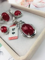 New 925 Silver Inlay Natural Red Pendant Clavicle Chain Fashion Lady Red Earrings Elegant Ring Set