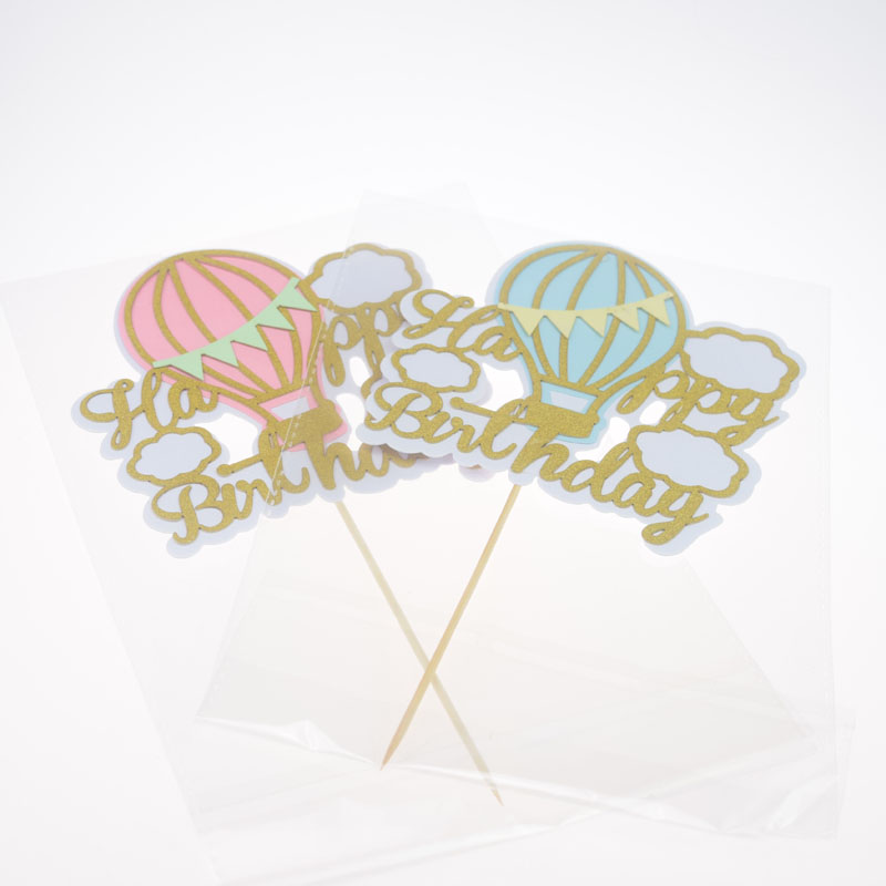 20pc Cake Toppers Flags Hot Air Balloon Cloud Kids Happy Birthday Cupcake Cake Topper Wedding Party Baby Shower Baking DIY Decor in Cake Decorating Supplies from Home Garden