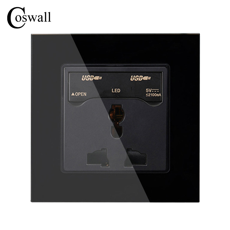 COSWALL Black Crystal Glass Panel, Electrical Wall Socket, 3 Hole Universal Power Outlet With 2100mA Dual USB Charging Port