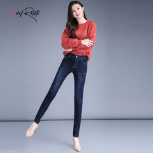 Brief Relate Warm Denim Jeans Fluff Full-length Pencil Pants Mid-waist Elastic Winter Autumn Wear High Quality