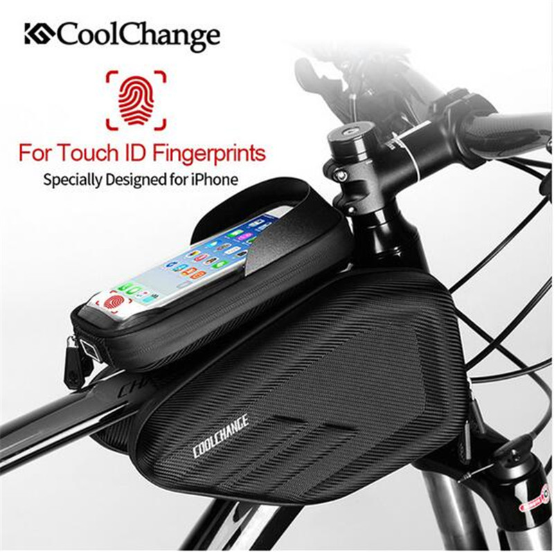 CoolChange Bicycle Frame Front Head Top Tube Waterproof Bike Bag&Double IPouch Cycling For 6.2 in Cell Phone Bike Accessories boodun bd b04 bicycle bike top tube double bag black
