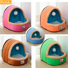 Petshy Foldable Pet Dog Cat Bed House With Toy Ball Warm Soft Pets Cushion Fun Puppy Castle Small Medium Sofa Kennel