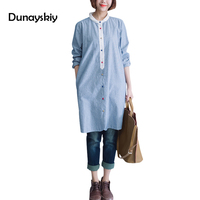 Autumn New Arrived Woman Shirts England Style Full Length Long Sleeve Blouses Turn Down Collar Striped