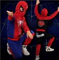 Free ship 2017 New Spiderman children clothes set  cosplay costumes set Face with off full boys kids clothes set l YAA012