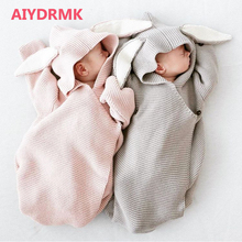 AIYDRMK Newborn Knitted Covers 3D Rabbit Ear Baby Wrap