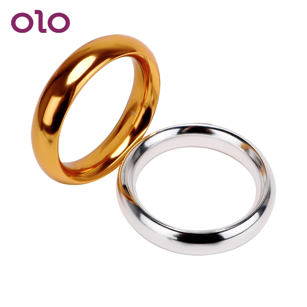 OLO Various Sizes Delay Ejaculation Male Chastity Device Penis Ring Sleeve Cock Ring Aluminum Sex Toys For Men Lock Loop